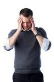 Uomo teso con burnout Fotografie Stock