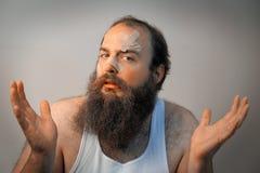 Uomo triste barbuto bendato Fotografia Stock