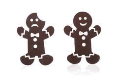 uomo triste e allegro del biscotto isolato Fotografia Stock