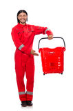 Uomo in tute rosse Fotografie Stock Libere da Diritti