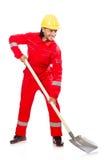 Uomo in tute rosse Fotografie Stock