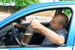 Uomo ubriaco in driver Fotografie Stock Libere da Diritti