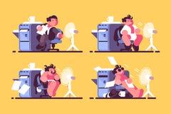 Uomo in ufficio raffreddato dal fan illustrazione di stock