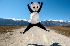 Uomo in un costume del panda che salta sulla strada La Bulgaria, Bansko - 2015 Fotografia Stock Libera da Diritti
