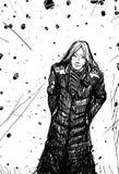 Uomo in un mantello nero Immagini Stock
