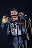 Uomo in un vestito con la cinematografia-pellicola Fotografie Stock