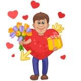 Uomo in un vestito del cuore con i fiori ed il regalo in mani Royalty Illustrazione gratis