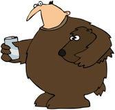 Uomo in un vestito dell'orso Fotografia Stock Libera da Diritti