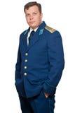 Uomo in uniforme delle aeronautiche militari russe Fotografia Stock