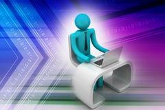 Uomo in uno scrittorio moderno con il computer portatile Immagini Stock