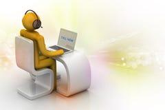 Uomo in uno scrittorio moderno con il computer portatile Fotografia Stock Libera da Diritti
