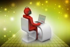 Uomo in uno scrittorio moderno con il computer portatile Immagine Stock Libera da Diritti