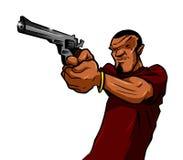 Uomo urbano con una pistola Fotografia Stock Libera da Diritti