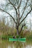 Uomo in vecchia canoa sul fiume davanti al grande vecchio albero morto fotografia stock libera da diritti