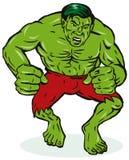Uomo verde con i muscoli illustrazione vettoriale