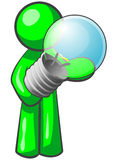 Uomo verde con la lampadina Fotografia Stock Libera da Diritti