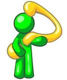 Uomo verde e domanda Immagine Stock