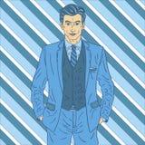 Uomo in vestito blu Fotografie Stock