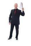 Uomo in vestito che tiene le buone notizie Immagine Stock Libera da Diritti
