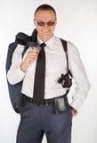 Uomo in vestito con una pistola Fotografia Stock Libera da Diritti
