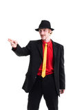 Uomo in vestito e cappello su bianco Fotografie Stock