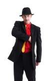 Uomo in vestito e cappello su bianco Immagini Stock
