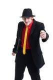 Uomo in vestito e cappello su bianco Fotografia Stock Libera da Diritti