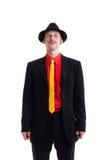 Uomo in vestito e cappello su bianco Fotografia Stock