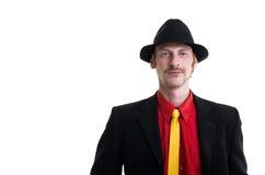 Uomo in vestito e cappello su bianco Immagine Stock Libera da Diritti