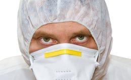 Uomo in vestito protettivo Fotografia Stock Libera da Diritti