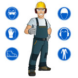 Uomo vestito in vestiti da lavoro illustrazione di stock