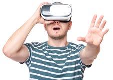 Uomo in vetri di VR Fotografia Stock