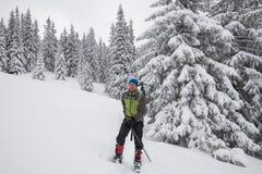 Uomo, viaggiatore che si rilassa e che gode della vita in montagne di inverno Immagine Stock Libera da Diritti