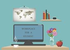 Uorganizowany miejsce pracy dla studiować online online Fotografia Stock