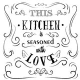 Uote Typographical Background. This kitchen is seasoned with love. Quote Typographical Background. Vintage vector illustration with curles made in hand drawn Stock Photography