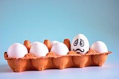 Uova bianche del pollo divertente con i fronti in una cellula dell'uovo fotografia stock libera da diritti
