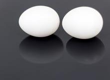 Uova bianche del pollo isolate su fondo lucido nero Fotografia Stock