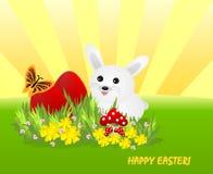 Uova bianche del redEaster e del coniglietto Immagini Stock Libere da Diritti