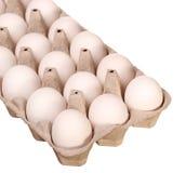 Uova bianche nella scatola isolata Fotografia Stock Libera da Diritti