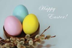 Uova blu gialle di rosa contro un fondo del salice e dei fiori per la festa di Pasqua fotografie stock libere da diritti