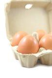 Uova in cartone di carta dell'uovo su fondo bianco Fotografia Stock Libera da Diritti