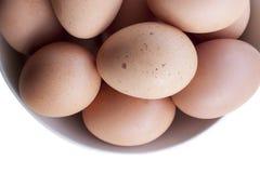 Uova che cucinano per la prima colazione, un tuorlo della forma della proteina e l'albume su un fondo bianco, o su una tavola di  Fotografia Stock Libera da Diritti