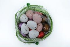 Uova colorate, pasqua domenica, spazio della copia, isolato Fotografie Stock