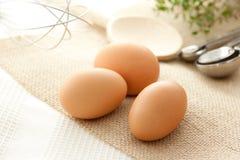 Uova con gli utensili della cucina Immagine Stock Libera da Diritti