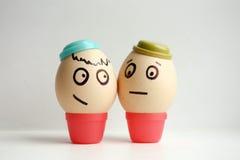 Uova con il fronte dipinto Migliori amici di concetto Fotografia Stock