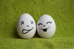 Uova con la foto dei fronti per la vostra progettazione Fotografia Stock Libera da Diritti