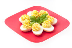 Uova con maionese decorata Fotografia Stock Libera da Diritti