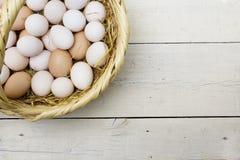 Uova crude fresche nel canestro della paglia immagini stock libere da diritti