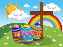 Uova decorate ed incrocio cristiano al prato di pasqua royalty illustrazione gratis