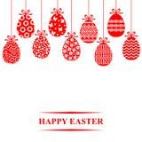Uova decorative di Pasqua che appendono carta Immagini Stock Libere da Diritti